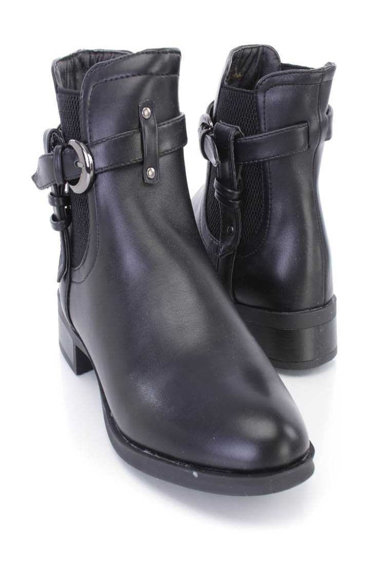 Black Strappy Fitted Ankle Booties Faux Leather