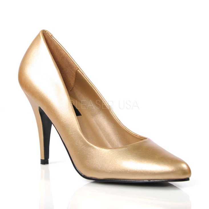 Gold Faux Leather Closed Toe Pump High Heels