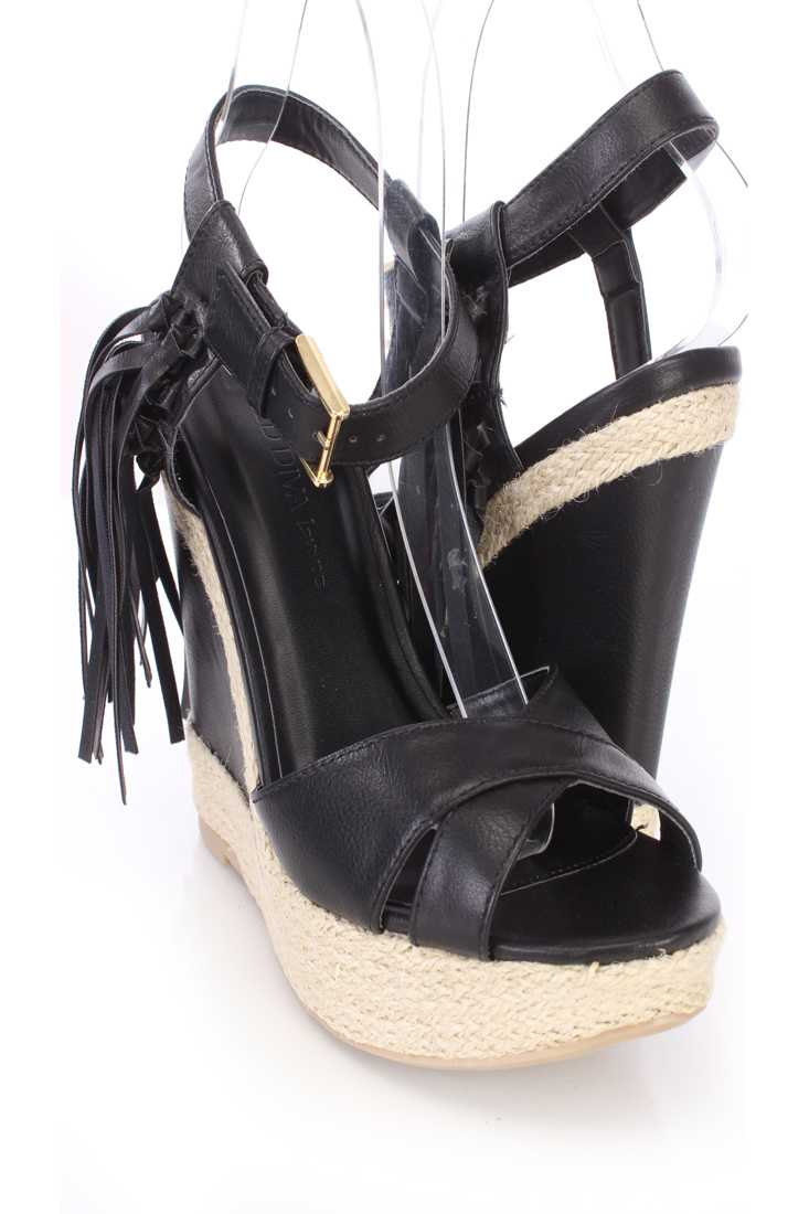 Black Tassel Cross Strap Espadrille Wedges Faux Leather