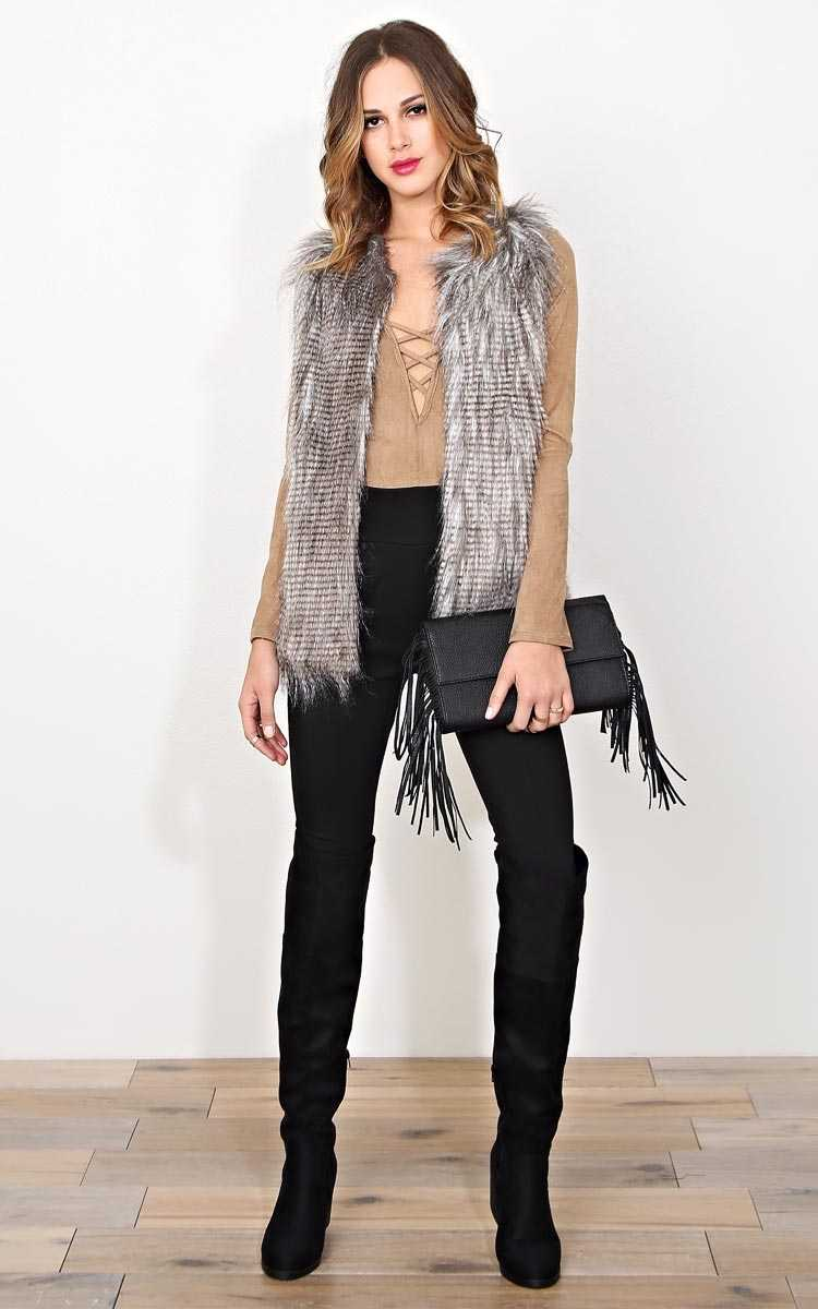 Tanya Faux Fur Vest - LGE - Brown Comb in Size Large by Styles For Less