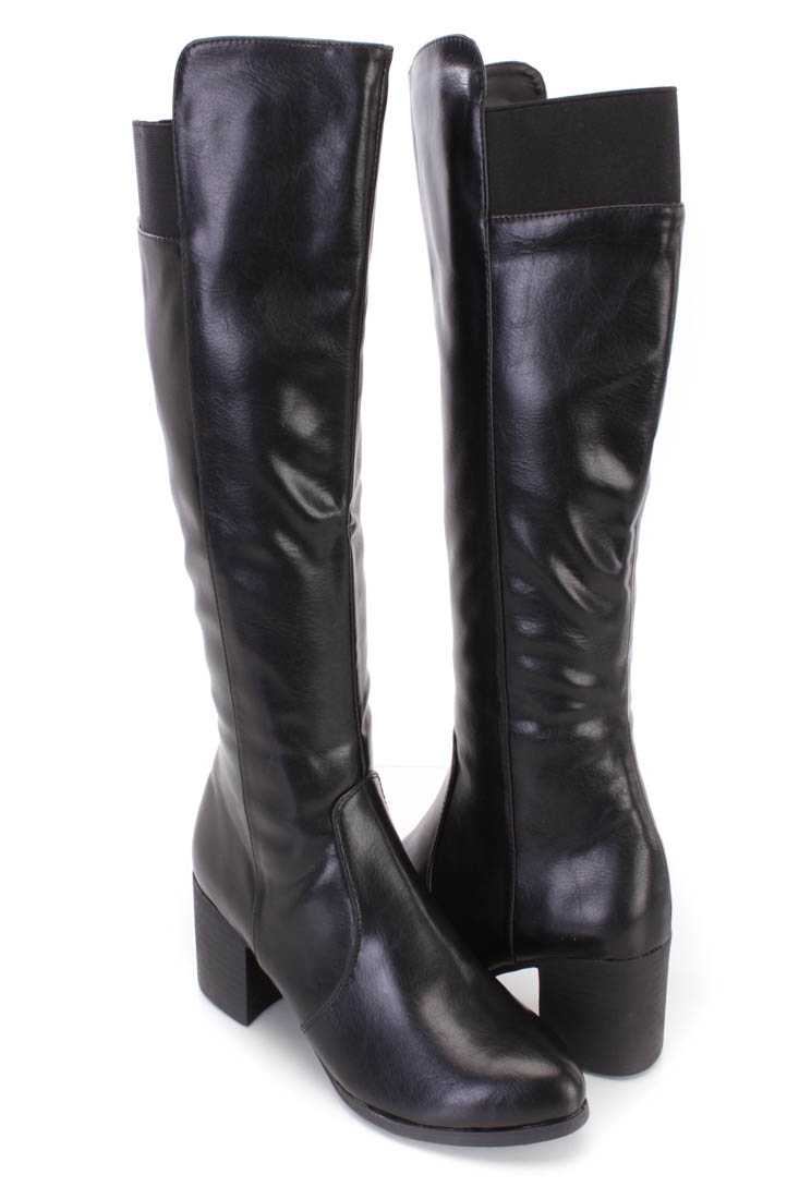 Black Knee High Chunky Heel Boots Faux Leather