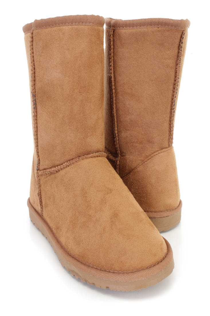 Chestnut Slip On Casual Comfy Boots Faux Suede