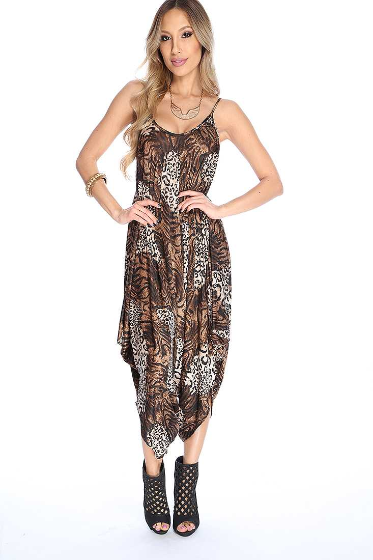 Sexy Leopard Sleeveless Draped Jumpsuit