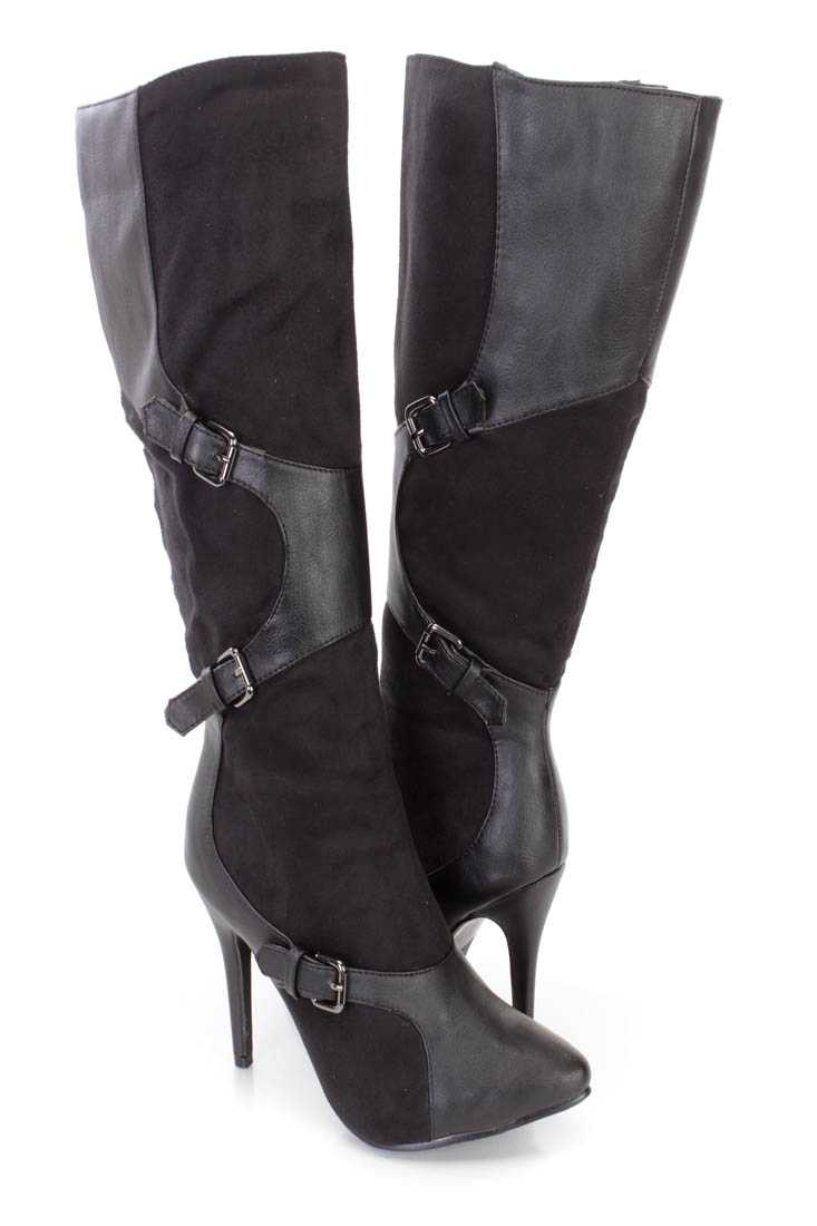 Black Buckle Accent Pointy Toe High Heel Boots Faux Suede