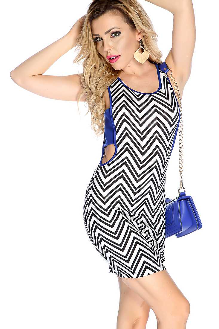 Sexy Royal Blue Sleeveless Strap Side Chevron Print Bodycon Party Dress