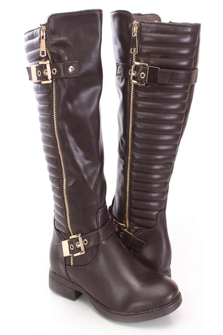 Brown Mid Calf Riding Boots Faux Leather