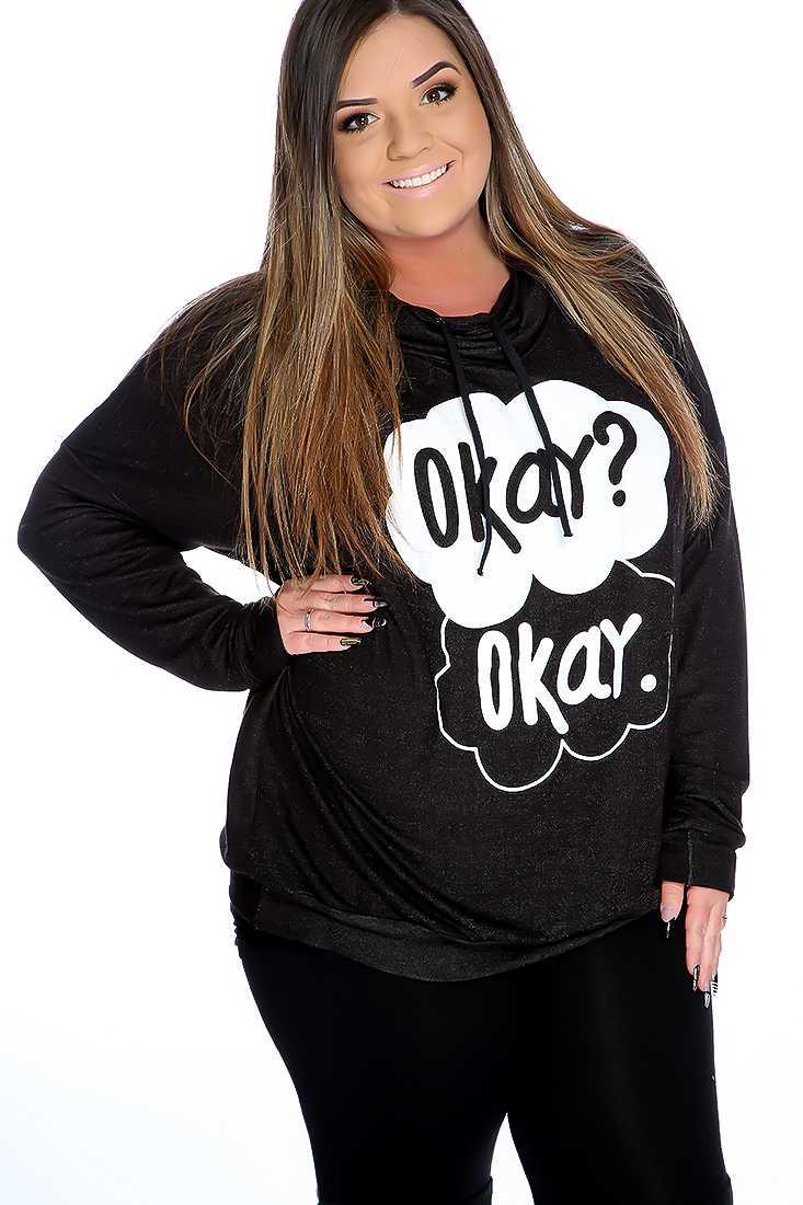 Black Graphic Design Cowl Neck Plus Size Sweater