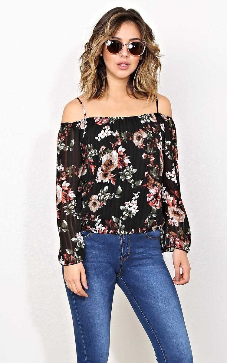 Kiana Floral Off Shoulder Top - Black Combo in Size by Styles For Less