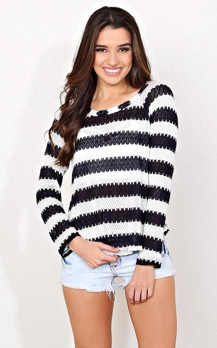 Ahoy Striped Knit Sweater - - Navy Combo in Size by Styles For Less