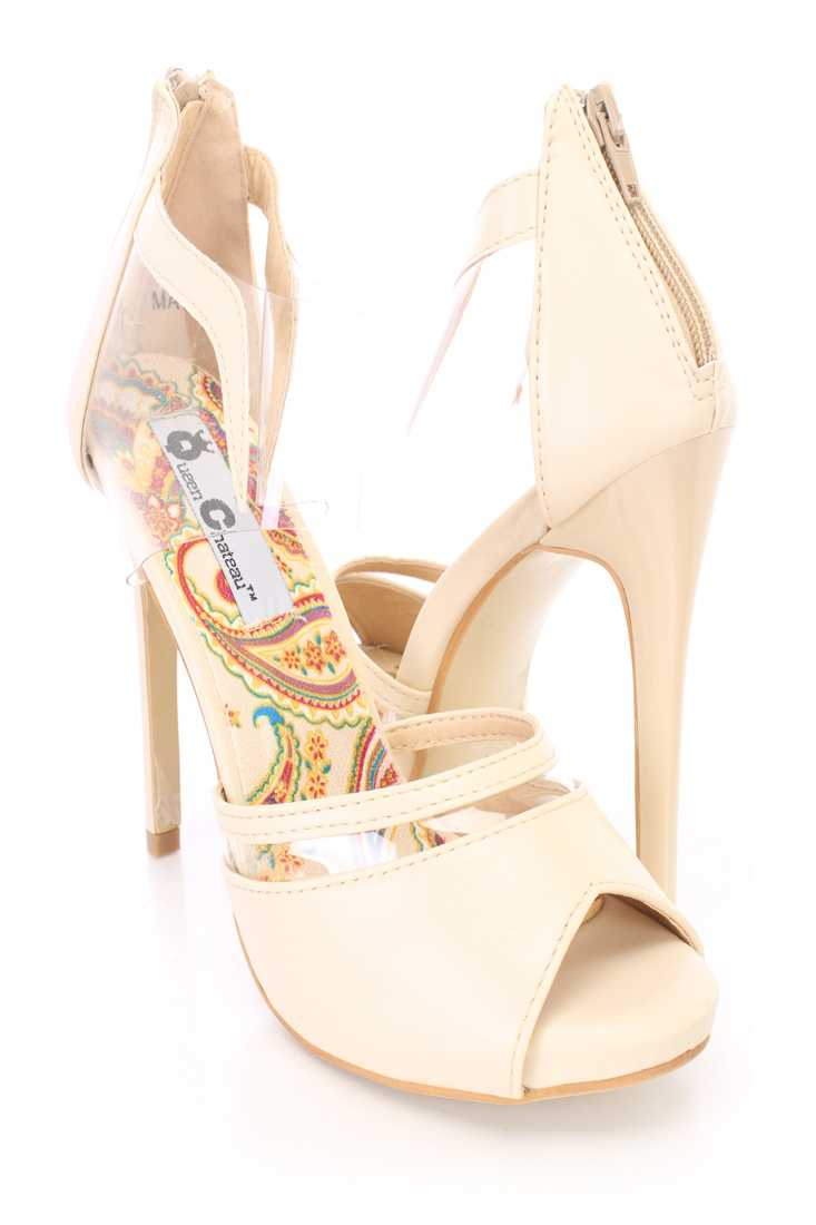 Beige Clear Strap Peep Toe High Heels Faux Leather