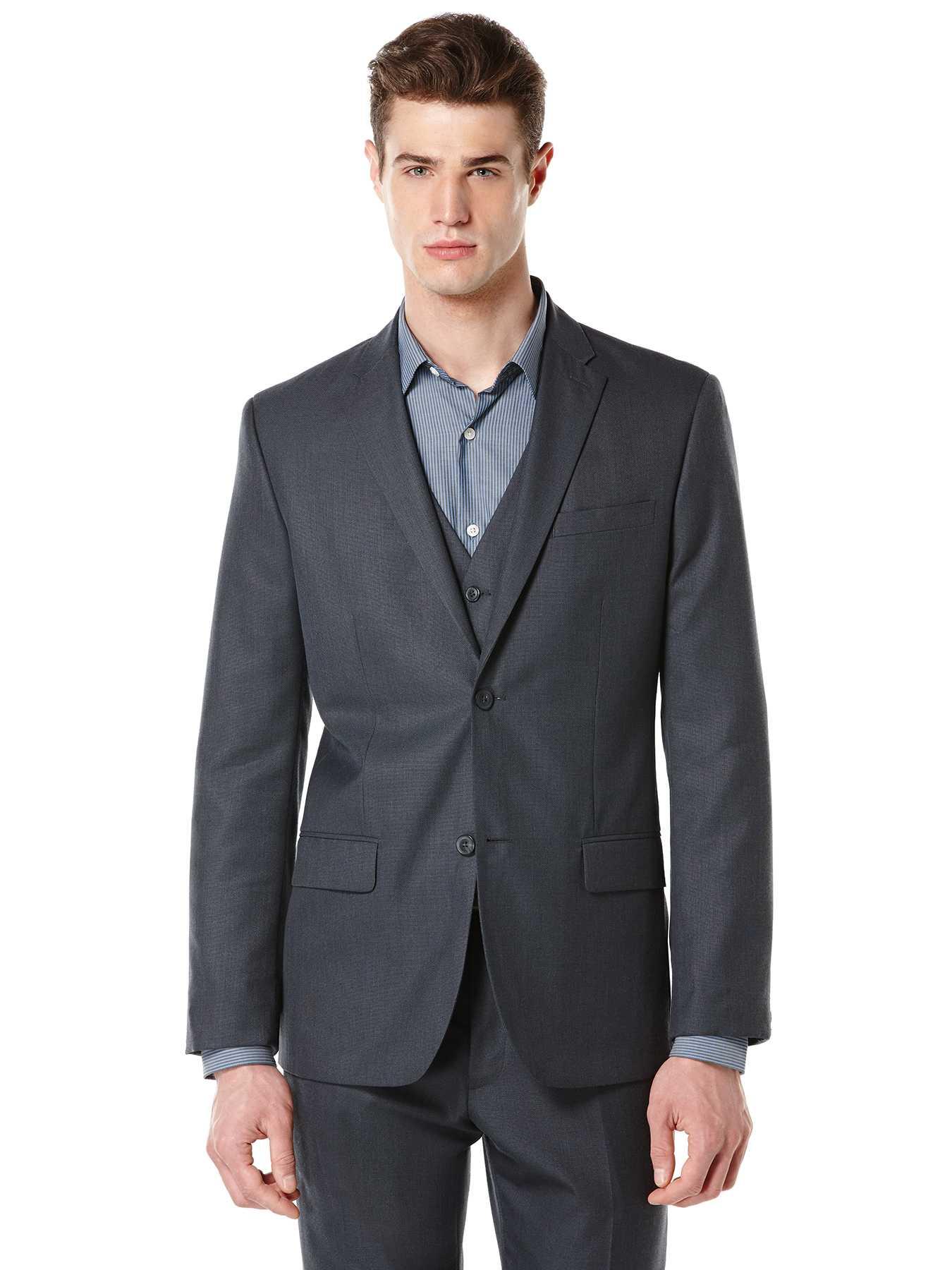 Perry Ellis Regular Fit Textured Fabric Suit Jacket