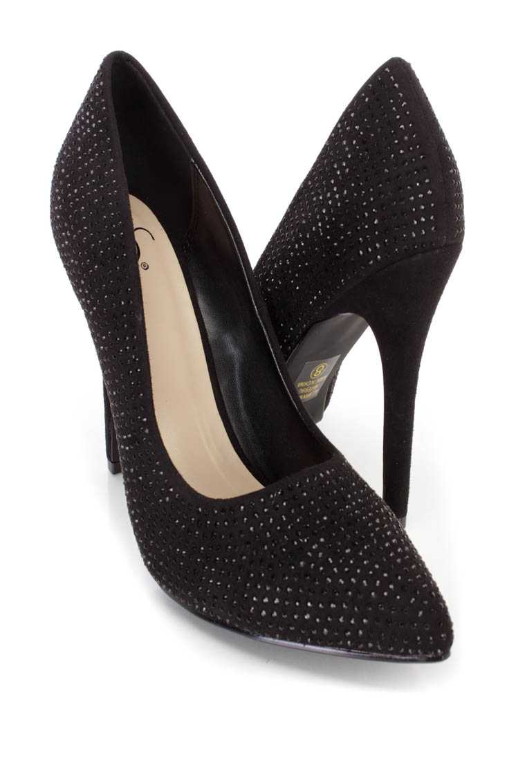 Black Rhinestone Single Sole Pump High Heels Faux Suede