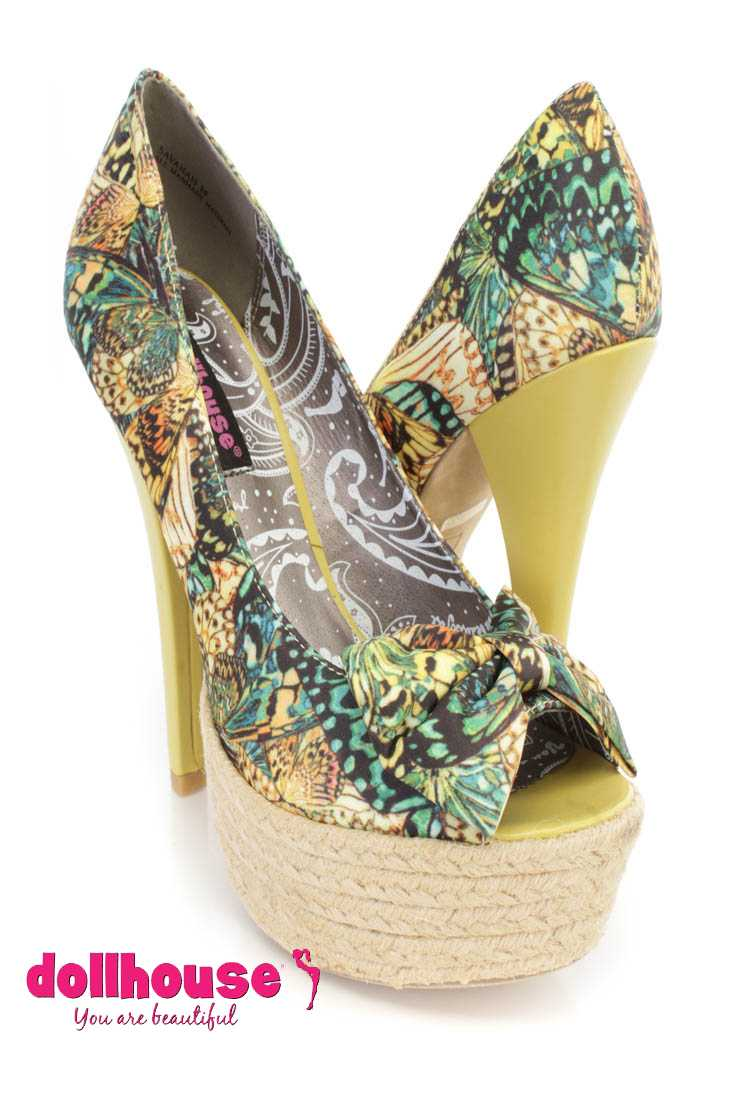 Yellow Butterfly Print 6 Inch High Heels Fabric
