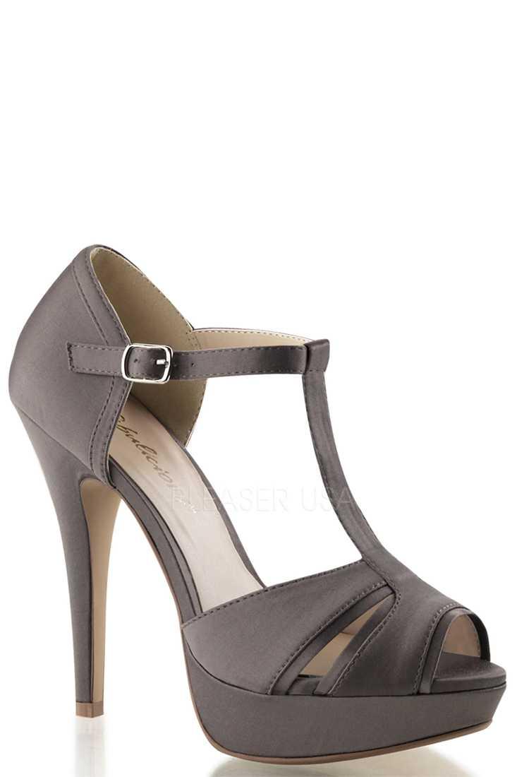Grey Peep Toe Strappy High Heels Satin