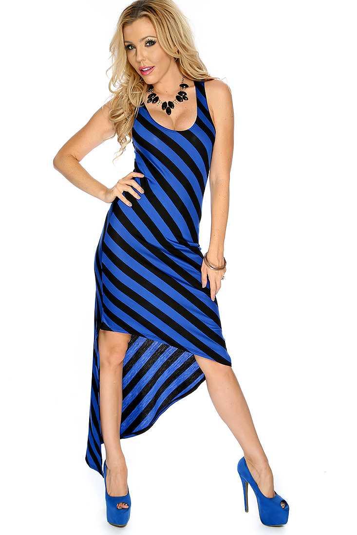Sexy Royal Blue Black Striped Asymmetrical Casual Party Dress