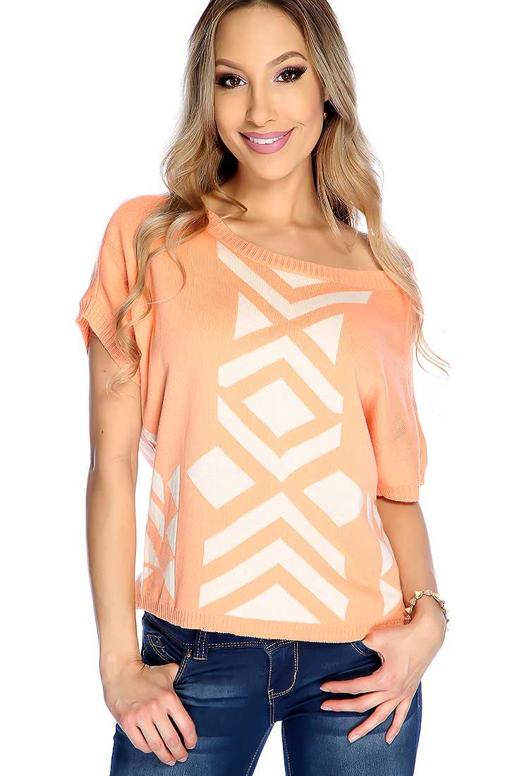 Sherbet Short Sleeve Two Tone Stylish Sweater
