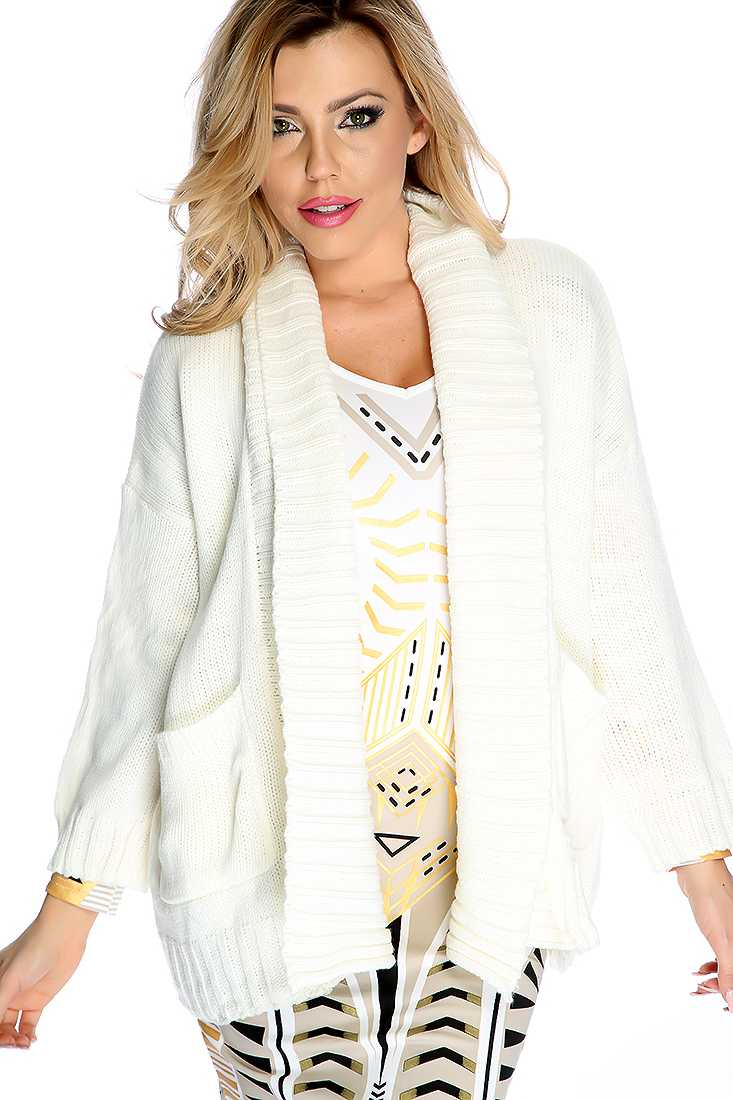 White Long Sleeves Open Front Cardigan