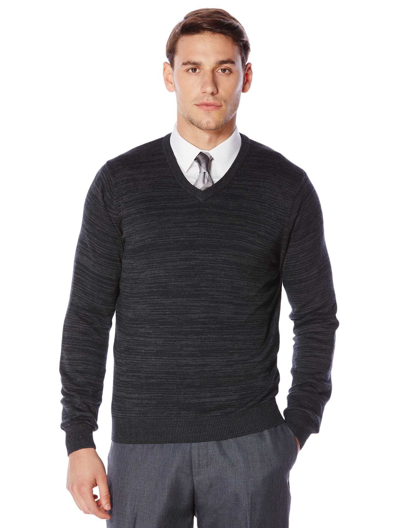 Perry Ellis Variegated Stripe V-Neck Sweater