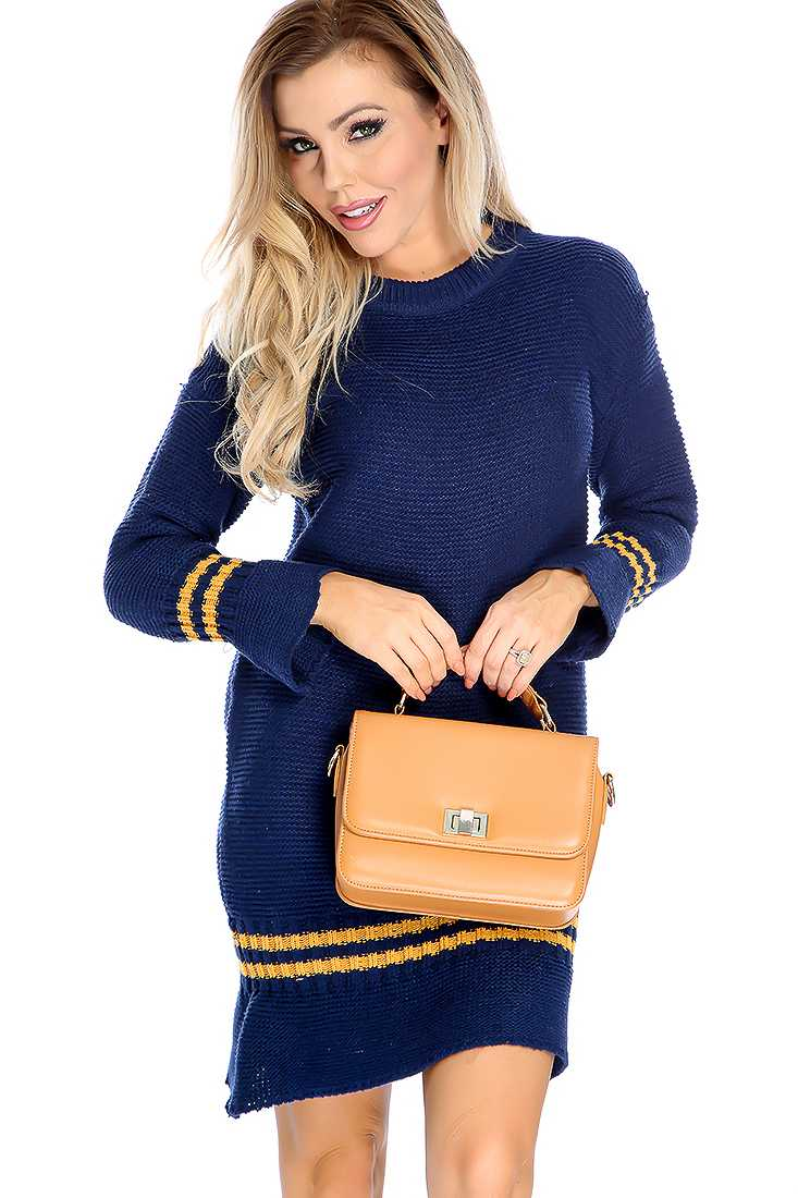 Sexy Navy Long Sleeve Round Neck Sweater Dress