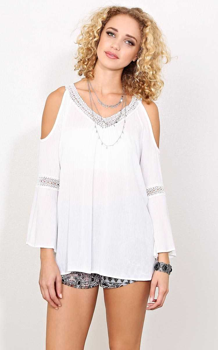 White Santorini Cold Shoulder Top - White in Size by Styles For Less