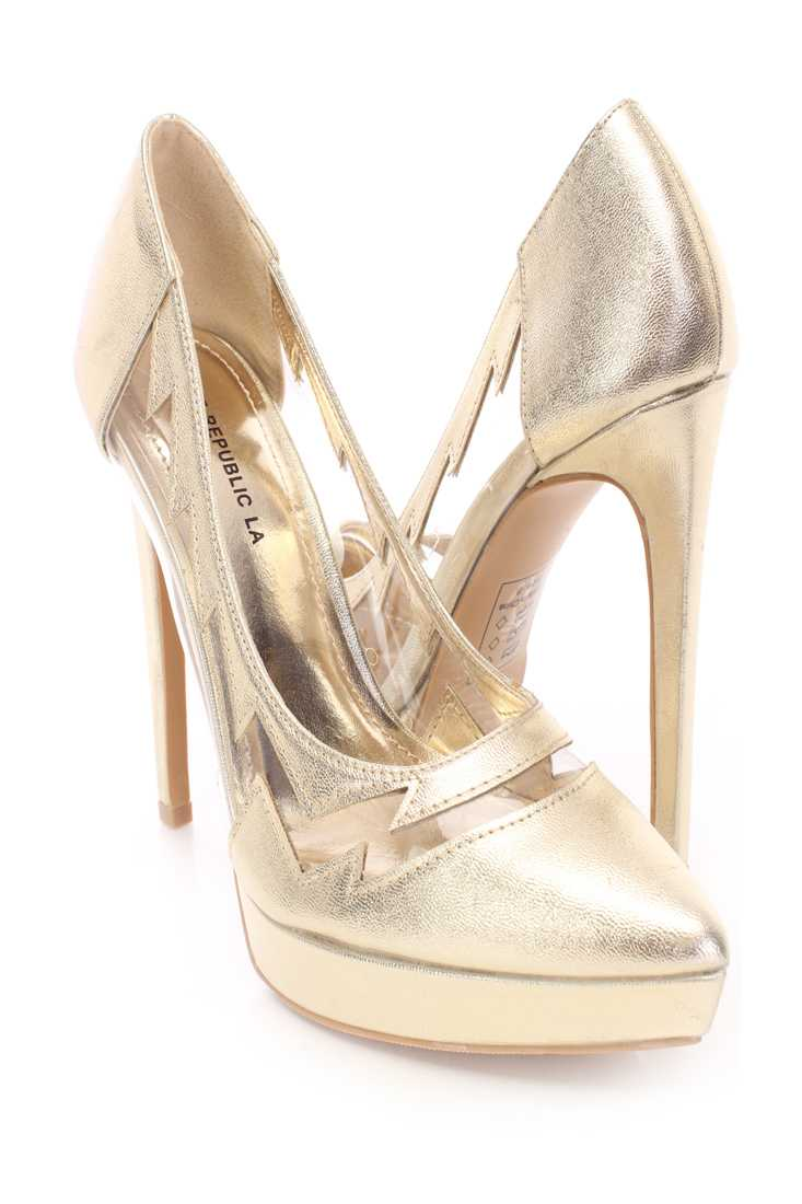 Gold Side Cut Out Pump High Heels Faux Leather