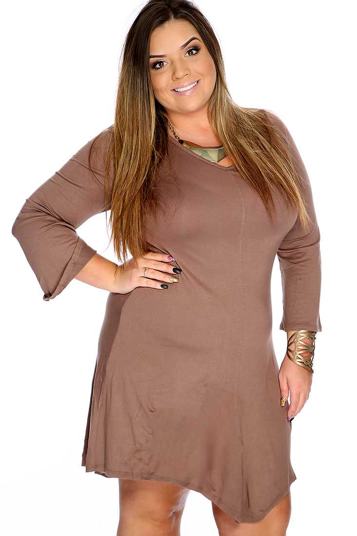 Mocha Scoop Neck Long Sleeves Plus Size Party Dress
