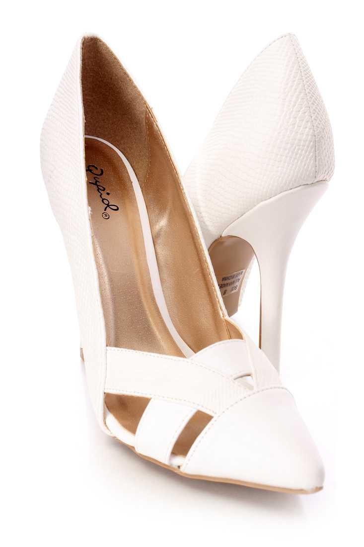 White Cut Out Single Sole Pump Heels Faux Leather