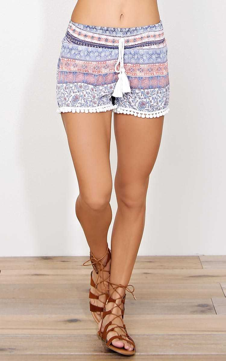 Sarah Woven Gauze Shorts - LGE - Blue Combo in Size Large by Styles For Less