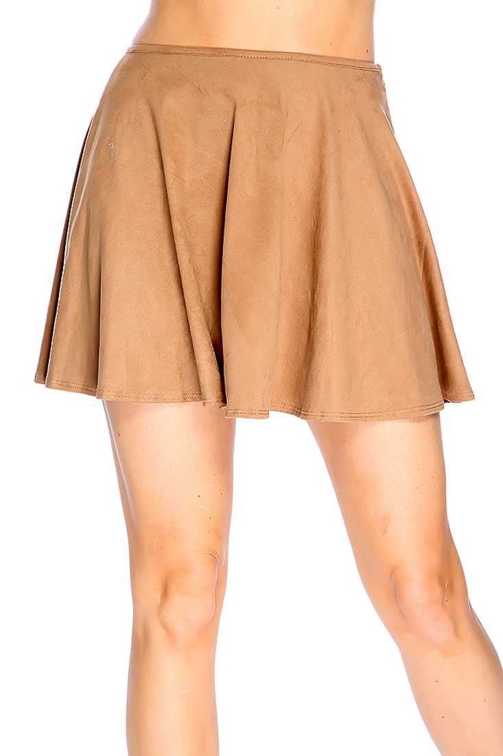 Camel Faux Suede High Waist Skater Skirt
