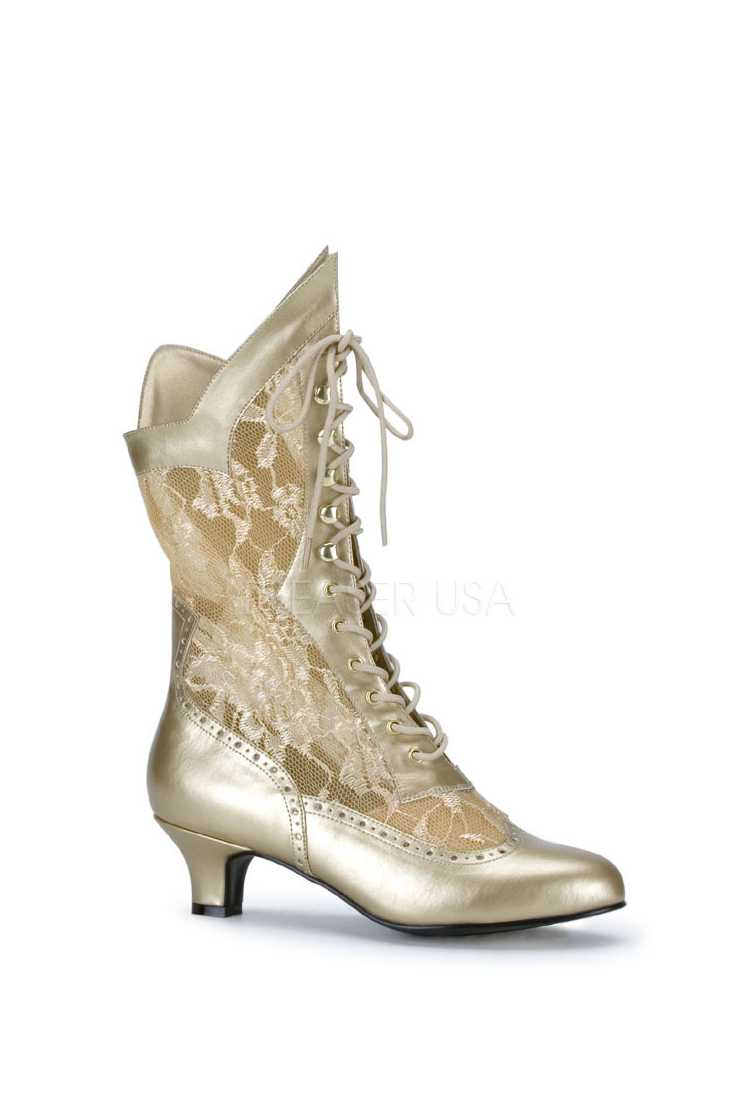 Gold Lace Inset Lace Up Boots Faux Leather