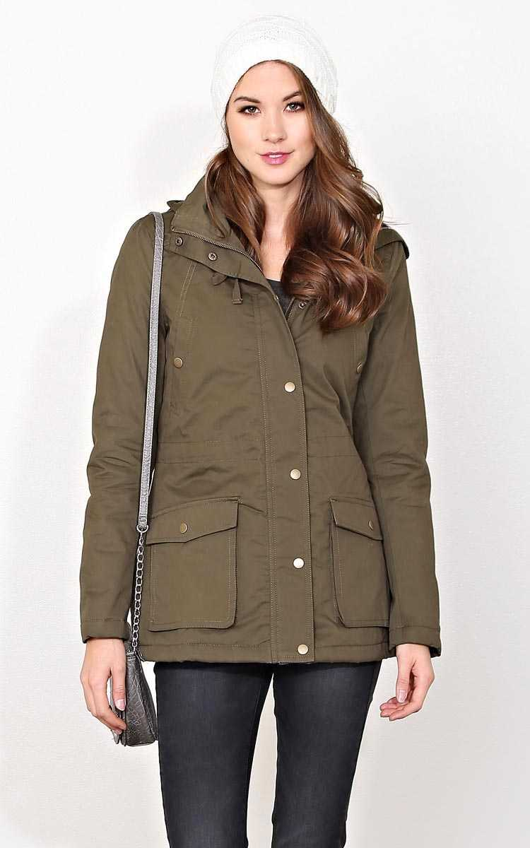 Alberta Plaid Hood Woven Anorak - SML - Olive/Drab in Size Small by Styles For Less