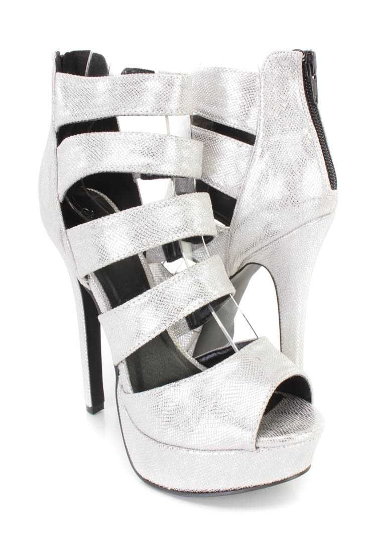 Silver Peep Toe Strappy Platform Heels Faux Leather