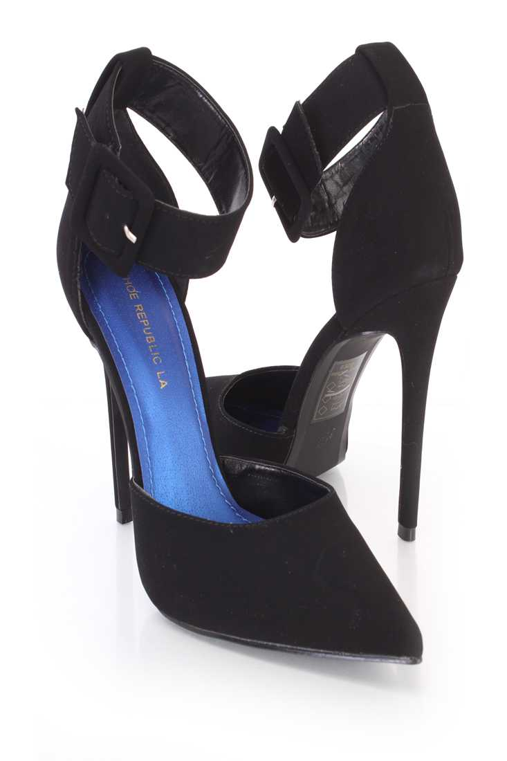 Black Ankle Strap Single Sole Heels Nubuck