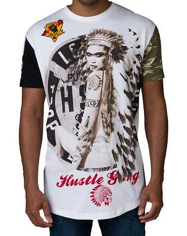 HUSTLE GANG MENS White Clothing / Tops 4X