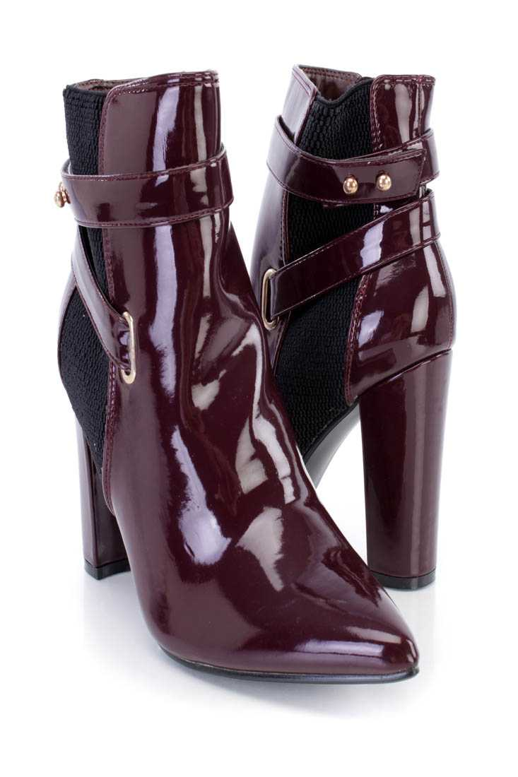 Wine Pointed Toe Chunky Heel Ankle Booties Patent