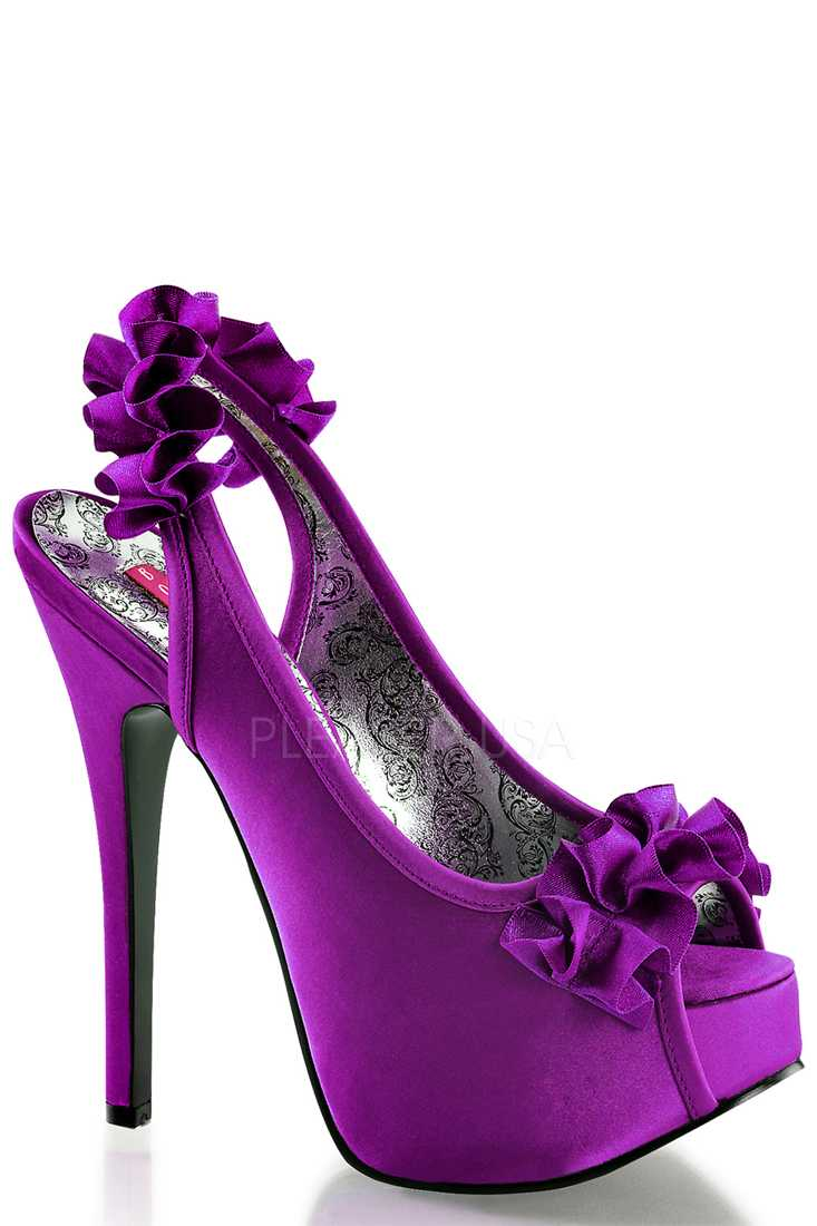 Purple Ruffle Detailed Slingback Platform High Heels Satin