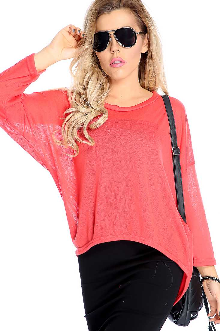 Stylish Watermelon Long Sleeve Lightweight Material Casual Top