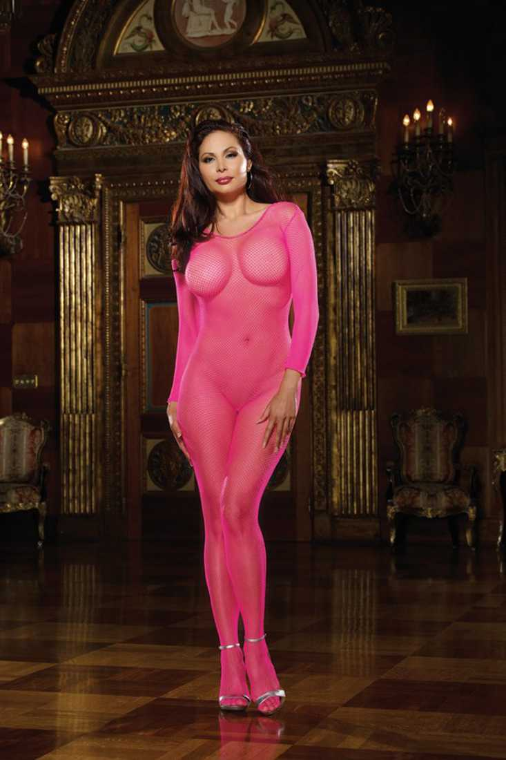 Neon Pink Fish Net Open Crotch Body Stocking AMI+