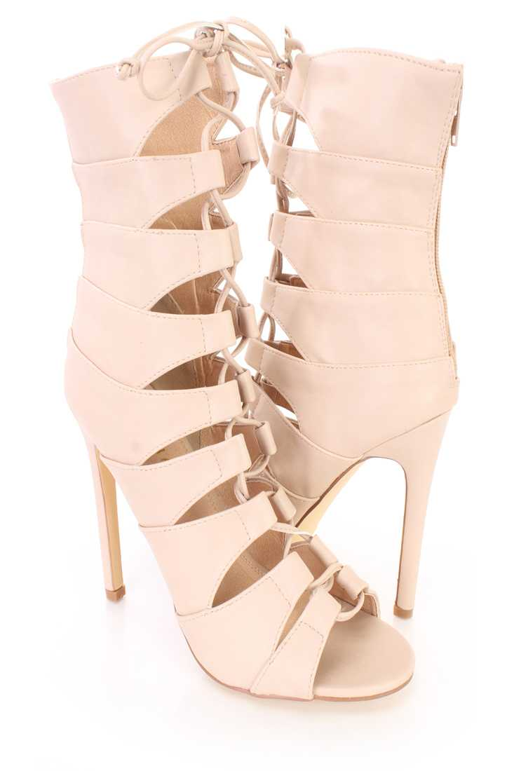 Nude Strappy Peep Toe Sandal Booties Faux Leather