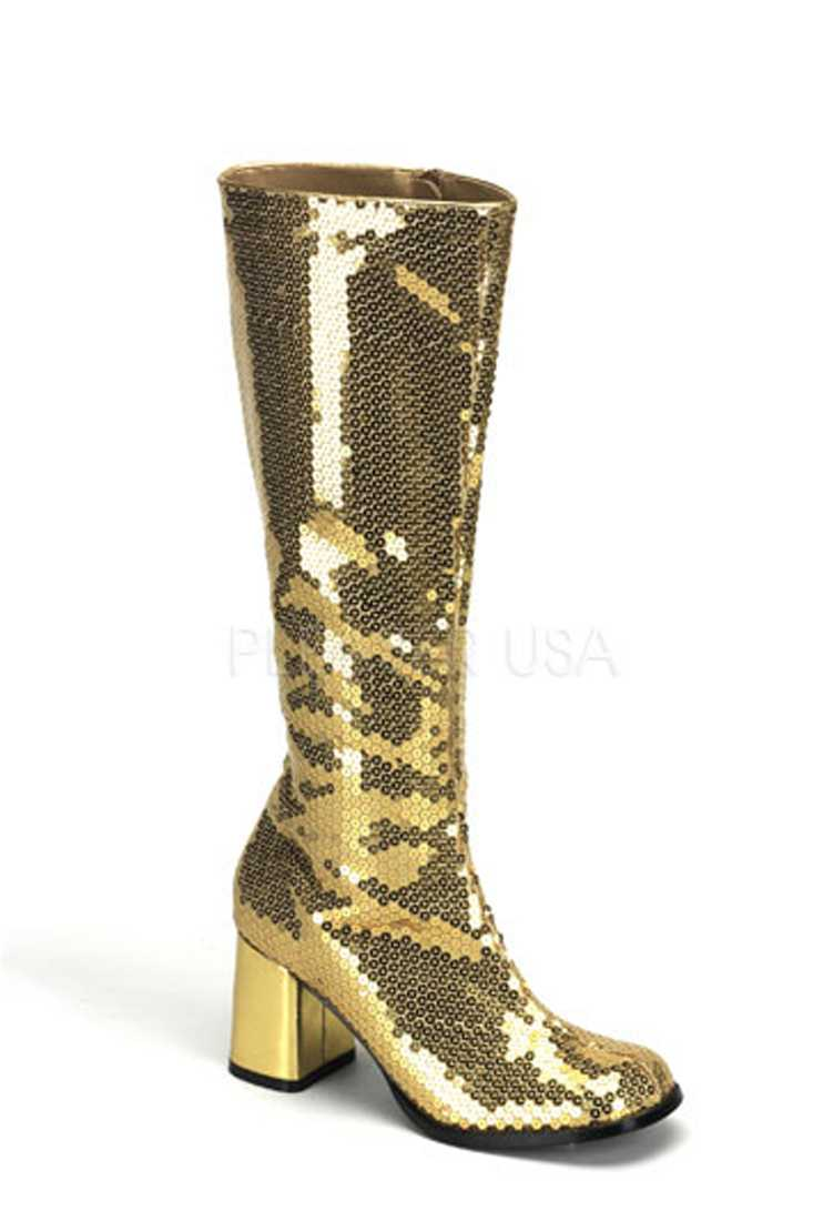 Gold Chunky Block Heel Knee High Boots Sequins