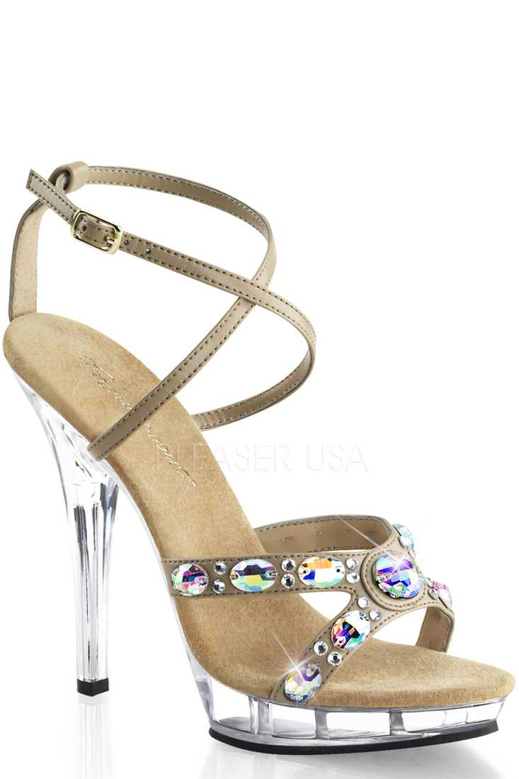 Taupe Rhinestone Criss Cross High Heels Faux Leather