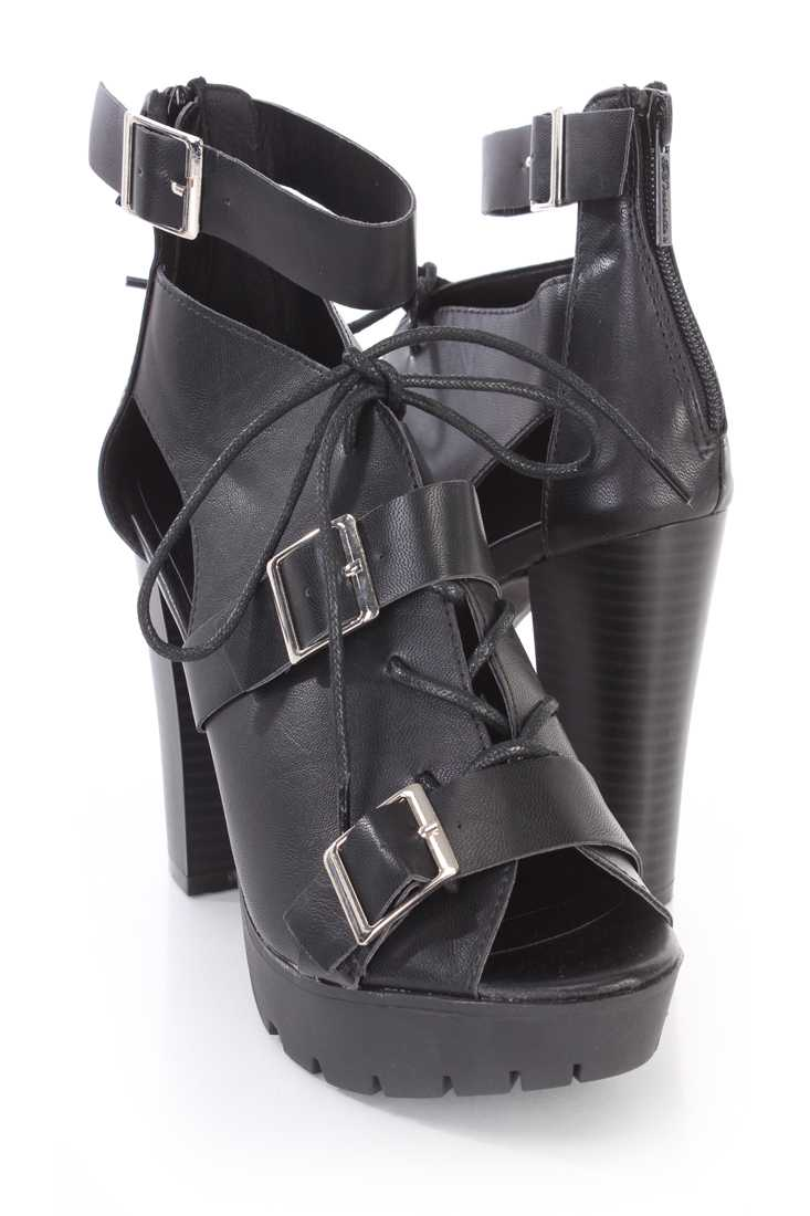 Black Buckle Strappy Platform Booties Faux Leather
