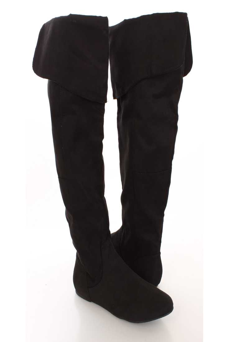 Black Faux Suede Knee Length Flat Boots