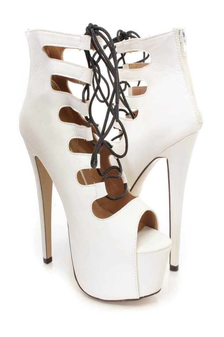 White Lace Up Strappy Platform High Heel Booties Faux Leather