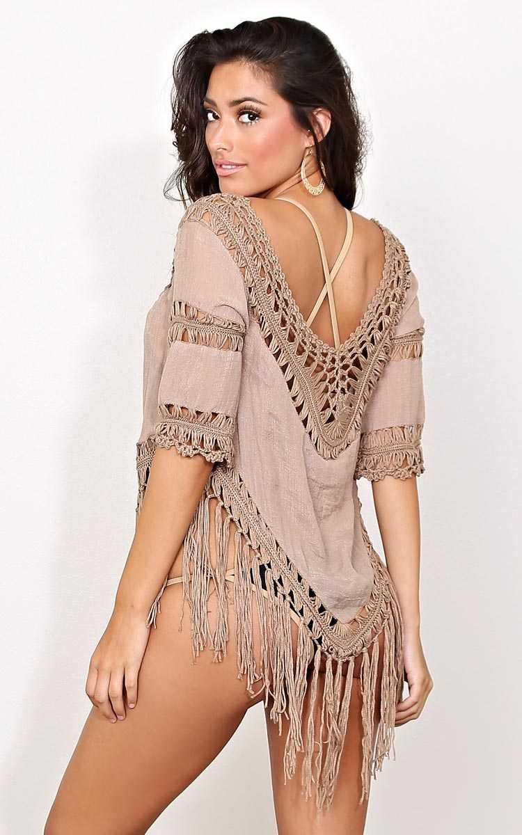 Mocha Lucianna Crochet Woven Top - - Mocha in Size by Styles For Less