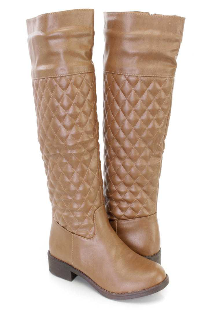 Cognac Quilted Ridding Boots Faux Leather