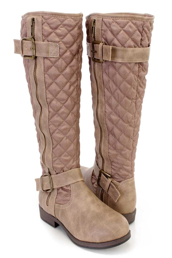 Taupe Stitched Quilted Strappy Riding Boots Nylon