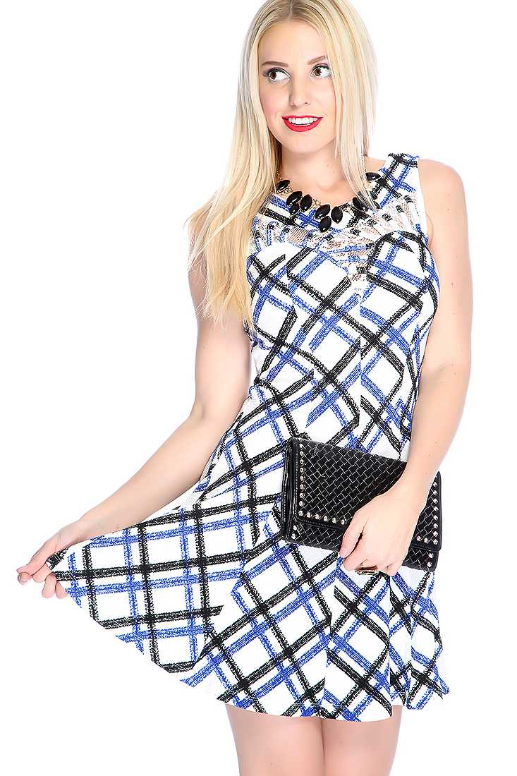 Sexy Royal Blue White Sleeveless Lace Detailing Round Neckline Two Tone Plaid Party Dress