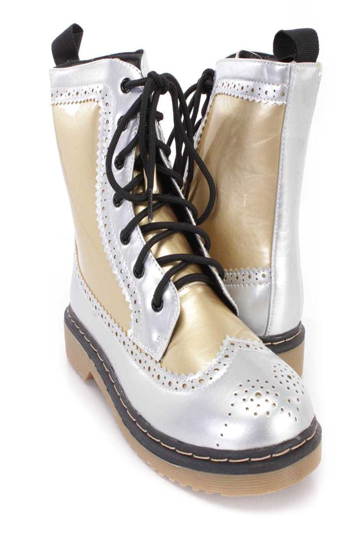 Gold Two Tone Wing Tipped Toe Combat Boots Faux Leather