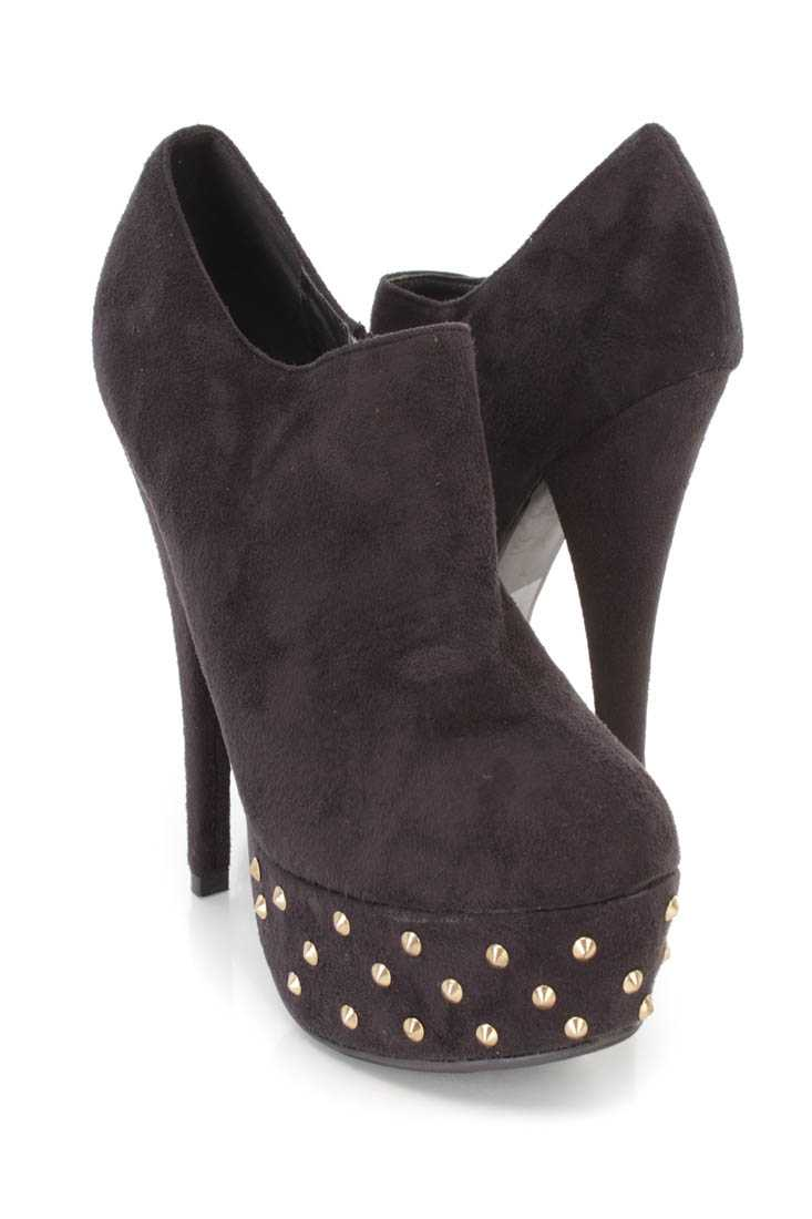 Black Studded Detail Platform Heel Booties Faux Suede